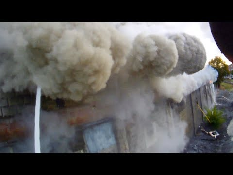 Helmet Cam W/ Roof Collapse (close Call) - Building Fire - October 18th, 2015