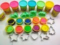Learn Colors with Play Doh Modelling Clay and Family Molds Cookie Molds and Surprise!