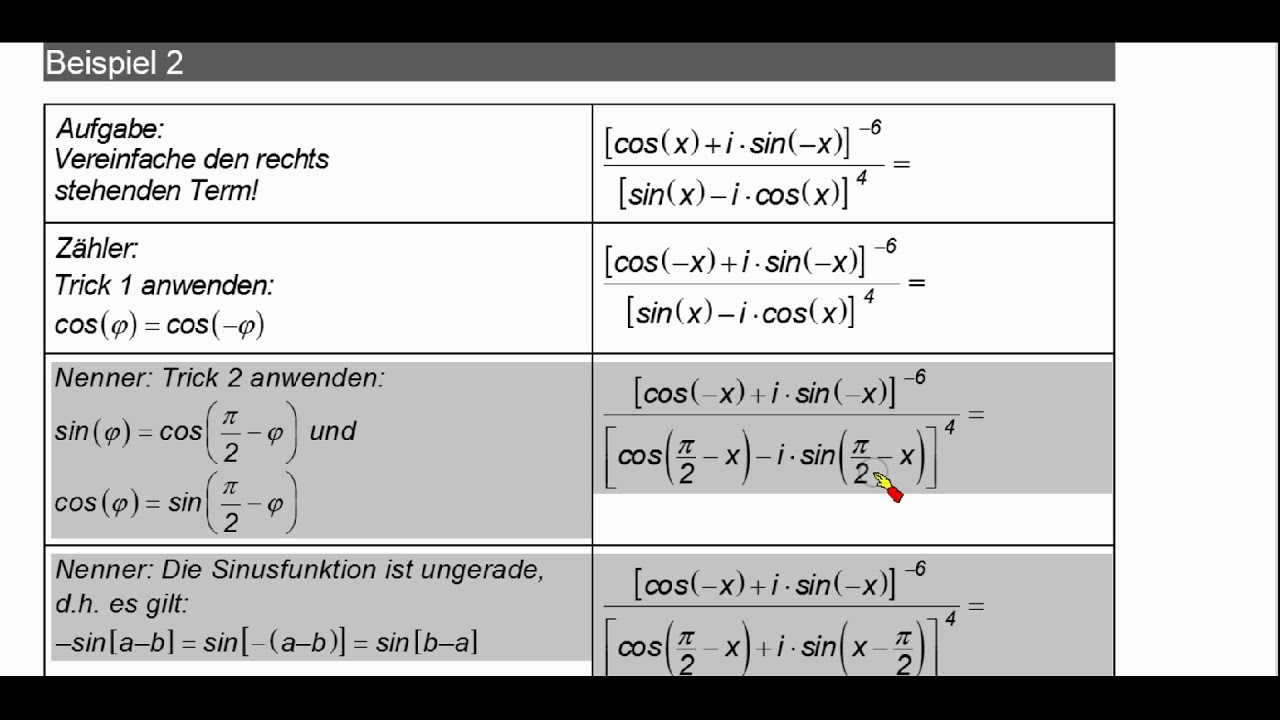 Komplexe Zahlen ▻De Moivre ▻Anwendung Terme vereinfachen ...