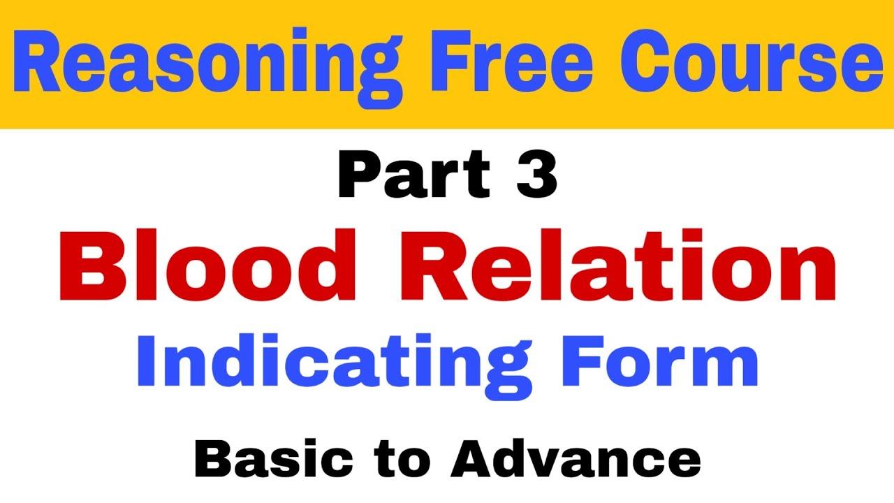Indicating Form of Blood Relation  Blood Relation Reasoning tricks  Bank PO  Free Reasoning Course