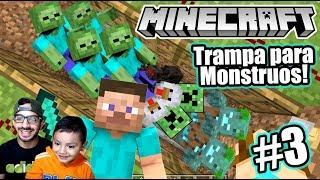 Trampa de Creepers y Zombies en Minecraft   Atrapamos a Monstruos   Juegos Karim Juega