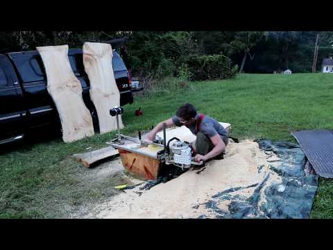 WOODWORKING // Slabbing Logs Into Lumber // Chainsaw Mill