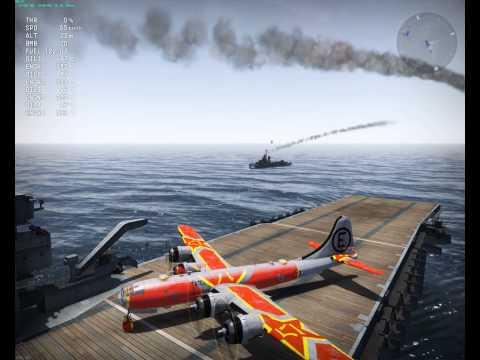 War Thunder: challenge - B-29 carrier landing and takeoff