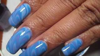 Blues & Purple Water Marble Nail Art Tutorial