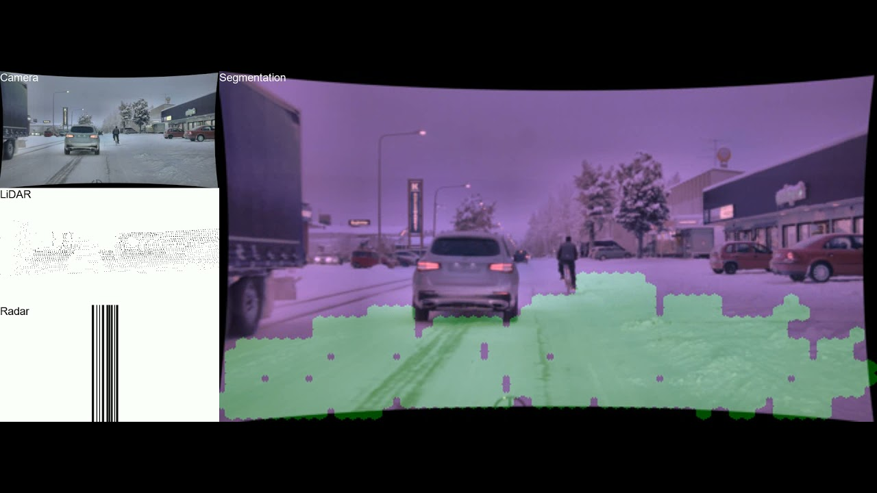 Preview image for Drivable path detection using CNN sensor fusion for autonomous driving in the snow video
