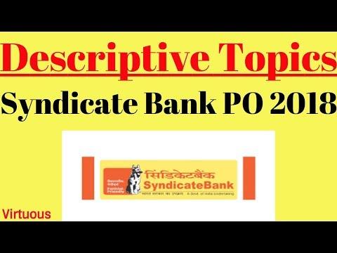Descriptive Writing Topics For Syndicate Bank PO Exam 2018