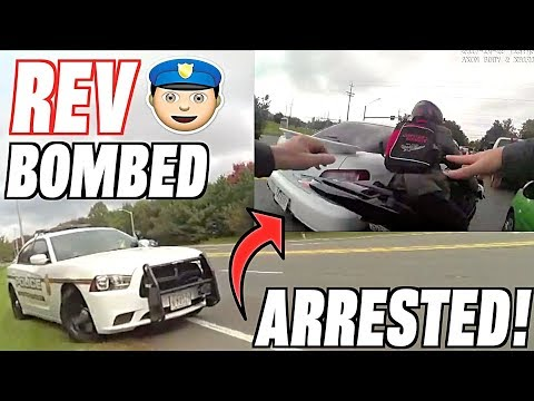 My Friend Rev Bombs a Cop - Tackled, Arrested, and Jailed! (Police vs Bikers)