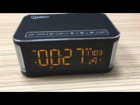 Radio Dual Alarm Clock with Temperature 10W Bluetooth Speaker Four Corner side Lamps