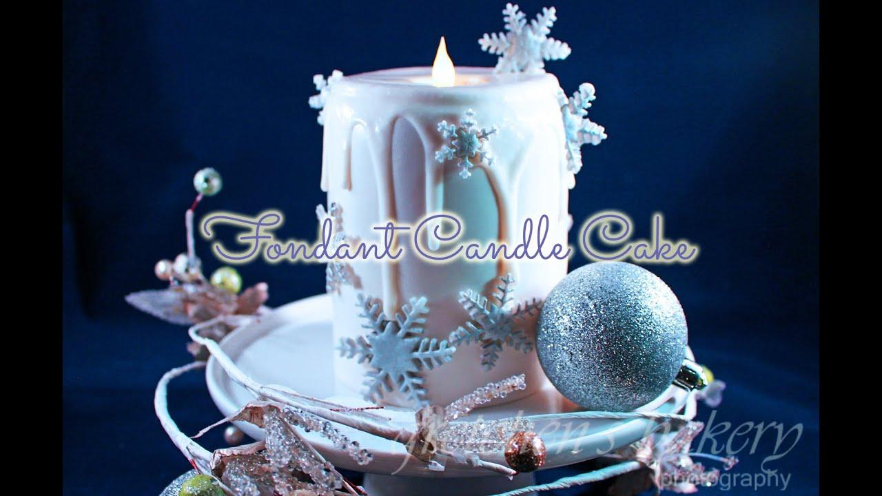 fondant lighted candle cake - youtube