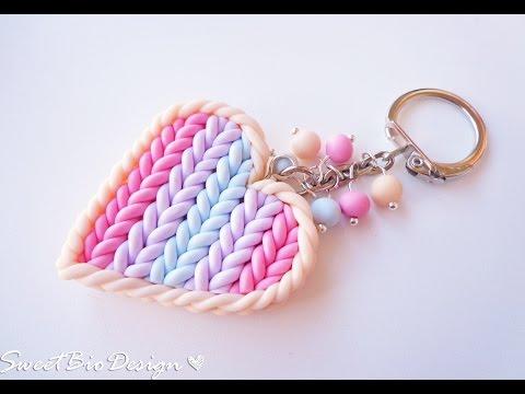 Porta chiavi in fimo effetto maglia - FIMO Clay Key holder heart knit effect