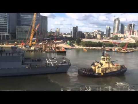 FGS Sachsen mooring at South Dock - Canary Wharf, London