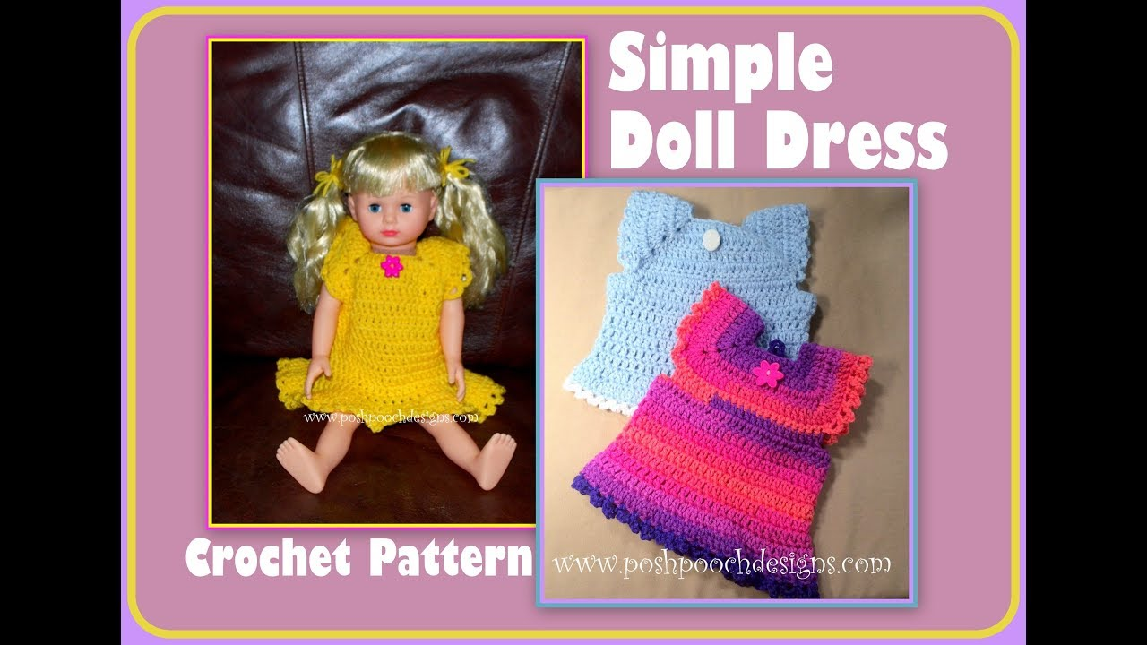 Simple Doll Dress Crochet Pattern - YouTube