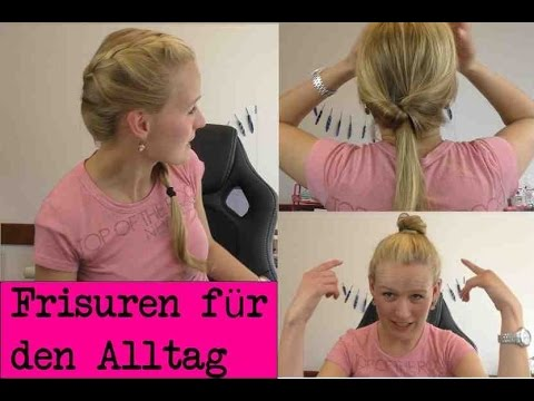 3 einfache frisuren f r den alltag zum selber machen kathis frisuren diy youtube. Black Bedroom Furniture Sets. Home Design Ideas