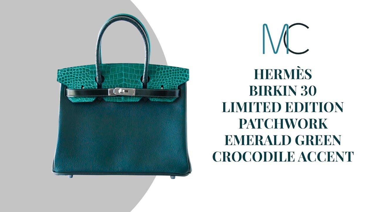 c8a3d6b402 MIGHTYCHIC • HERMÈS Birkin 30 Bag Limited Edition Patchwork Emerald Green  Crocodile Accent