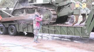 Pressure Washing Heavy Equipment For The Colorado National Guard -- Video
