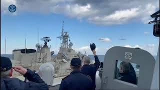 SNMG-2 flagship, frigate 'Cristobal Colón' farewells greek vessel