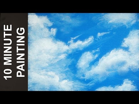 Painting a Sky full of Clouds with Acrylics in 10 Minutes!