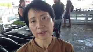 GEF CEO Naoko Ishii at Tuna Fish market in Apia, Samoa