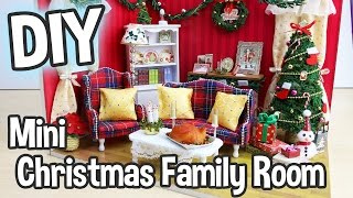 DIY Miniature Dollhouse Kit Christmas Living/Family Room with Working Lights! / Relaxing Crafts