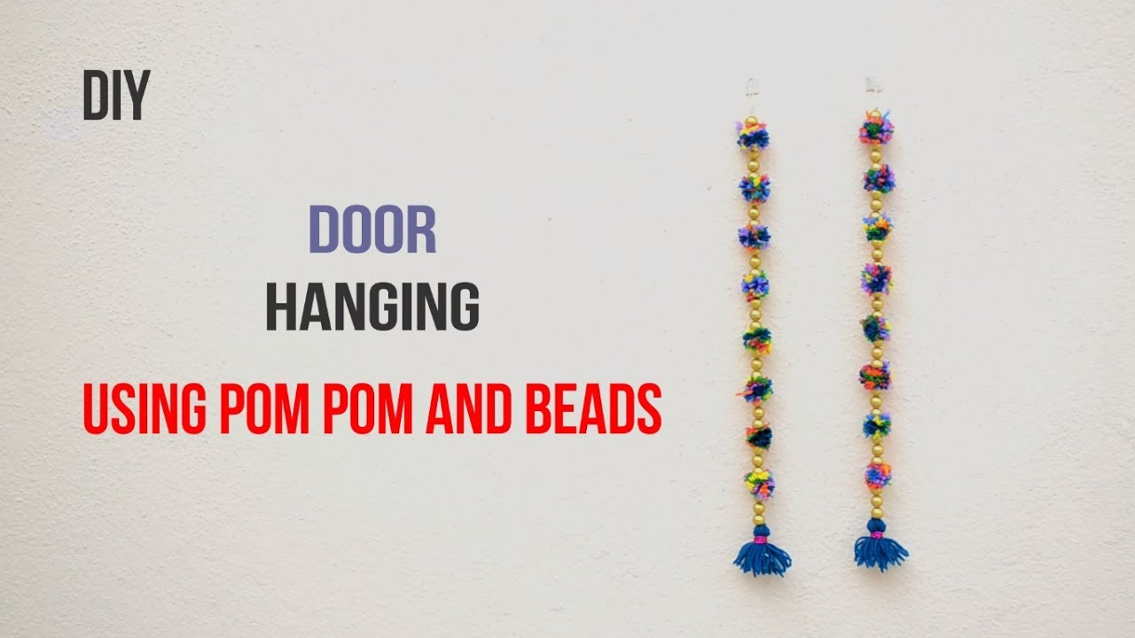 Door hanging using pom pom and beads ||Creative Indian Arts|| #29  sc 1 st  YouTube & Door hanging using pom pom and beads ||Creative Indian Arts|| #29 ...
