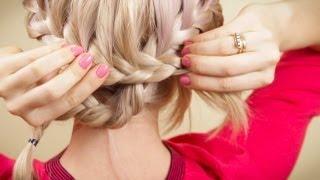 Прическа из двух косичек самой себе. Braiding on your own hair.(Подписывайтесь на мой канал http://www.youtube.com/user/4OXYGENE Прическа из двух косичек самой себе http://vpletaysya.ru. При плете..., 2013-02-09T16:12:52.000Z)