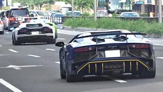 【東京】アヴェンタドール反響 爆発音他 スーパーカー目撃 サウンド/Supercars sound in Tokyo. BANGs Aventador, New Vantage, 675LT more