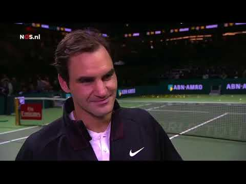Roger Federer on court interview after winning 97th title in Rotterdam