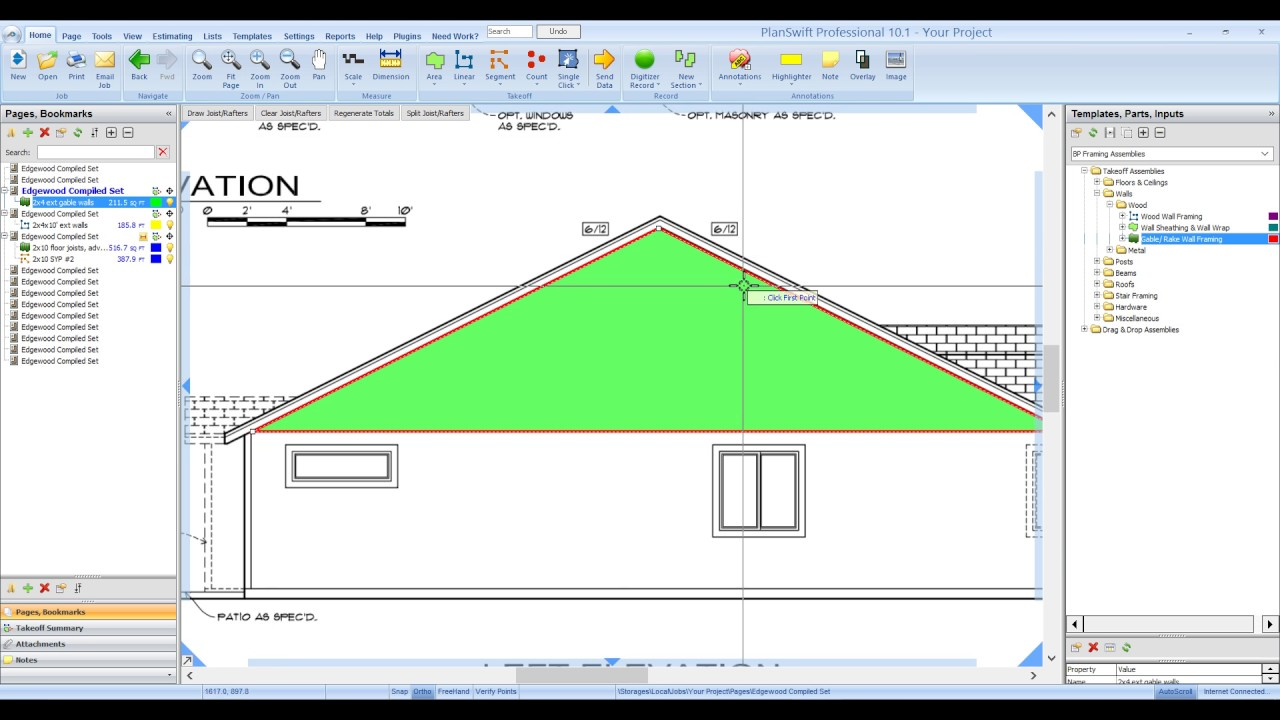 Bid Pro Framing for PlanSwift Gable Wall Framing - YouTube