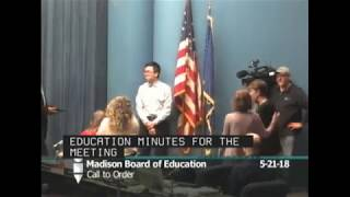 Board of Education Regular Meeting 5/21/2018
