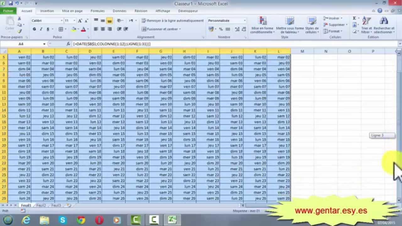 Calendrier Annuel Excel.Excel Calendrier Annuel Avec Formule Matricielle