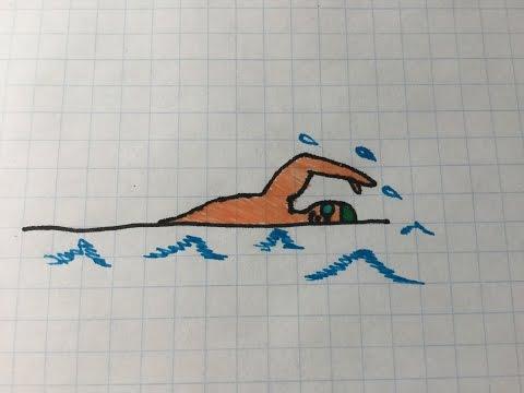 Как нарисовать плавающего человека в воде