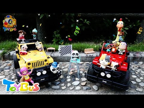 Baby Pandas Toy Car Race | Play Race Car Toys | Monster Truck Rescue Team | Baby Kitten | ToyBus