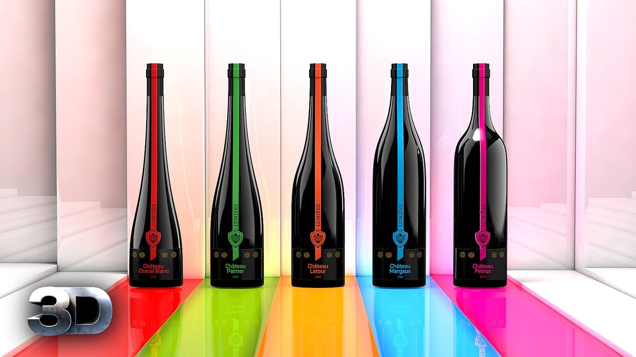 wine bottle design cinema 4d c4d logo global