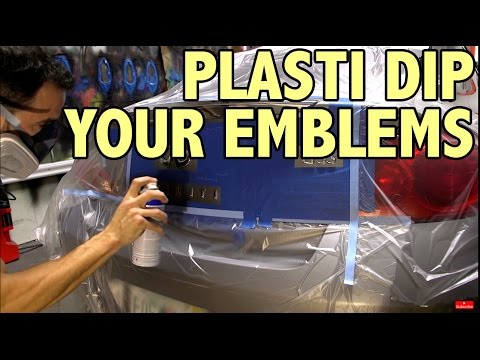 Painting emblems with plasti dip