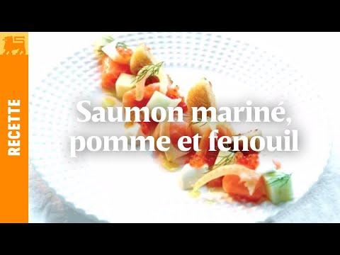 Saumon mariné, pomme et fenouil