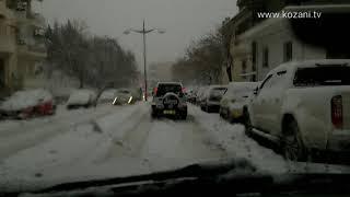 Σφοδρή χιονόπτωση στην Κοζάνη