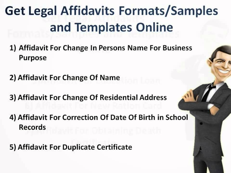 Get Legal Affidavits Formats/Samples and Templates Online - YouTube - how to write a legal affidavit