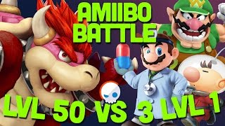 How long does it take for 3 LVL 1 Amiibos to beat 1 LVL 50?