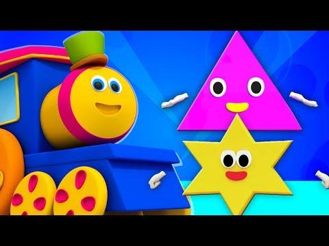 Bob el tren | cinco pequeñas formas | forma canción | canciones infantiles | Bob Five Little Shapes