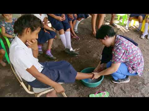 El Salvador, washing the feet of school children