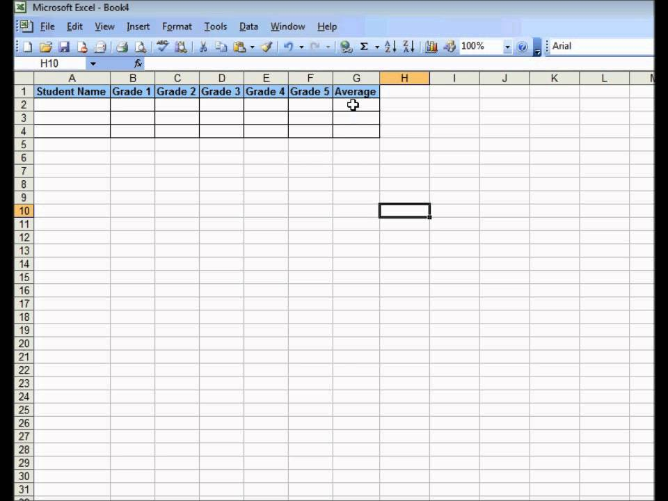 How To Create A Simple Gradebook In Excel  Youtube