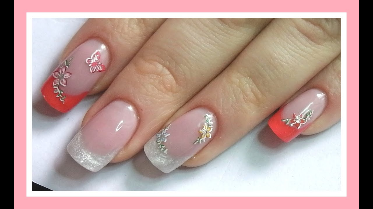 How to- gel nails- spring design - YouTube