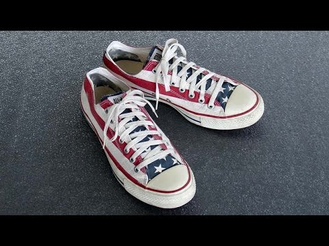 Older Converse All Star Chuck Taylor Shoes American Flag Size 9.5 Made In China