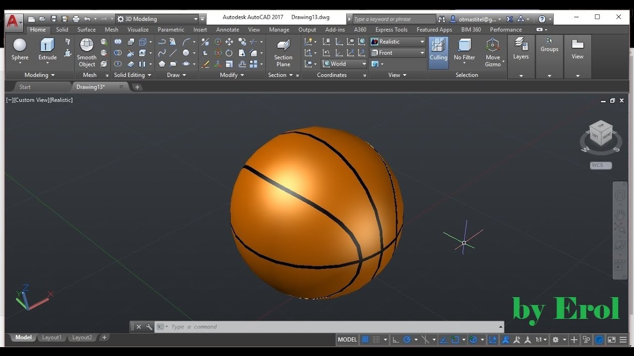 Autocad 3d Modeling Basketball Youtube