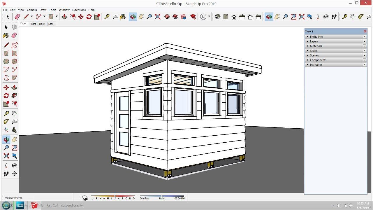 Clint's Backyard Studio - Ep 6 - Siding and Drywall ... on Sketchup Backyard id=74529