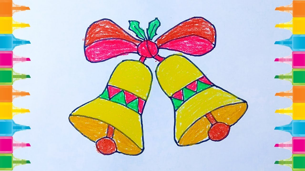 How To Draw Christmas Bell Christmas Bell Drawing Drawing Of