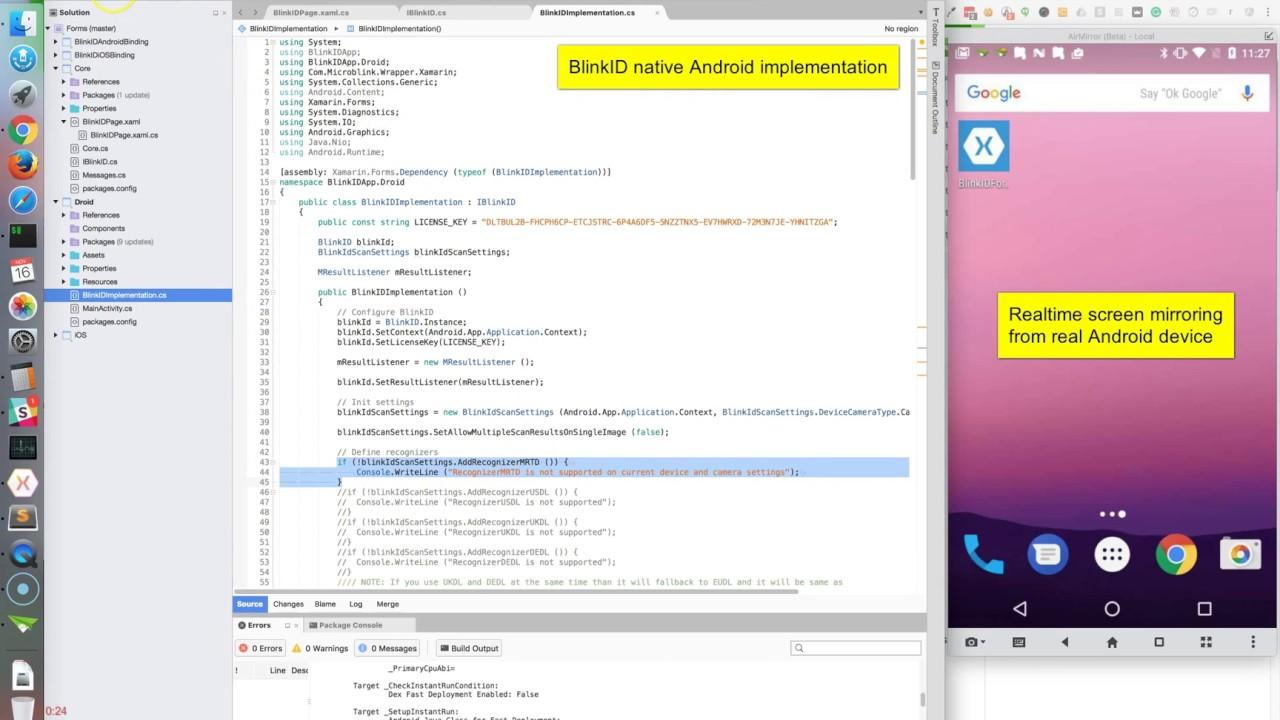 BlinkID - Xamarin Setup and run Sample Forms application