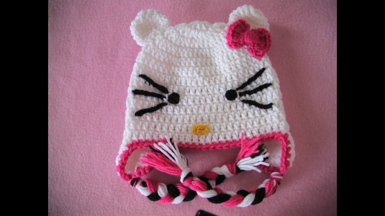 ff62feca62e Πλεκτο Σκουφακι Hello Kitty (μερος 2ο) / Hello Kitty Crochet Hat Tutorial  (part 2)