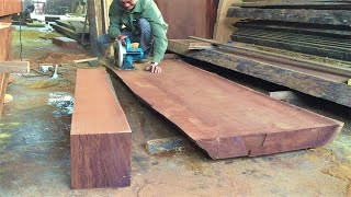 Woodworking Skills Extremely Ingenious Talented Worker | Strong Unique Ebony Dining Table Monolithic
